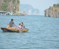 Floating family at Halong Bay